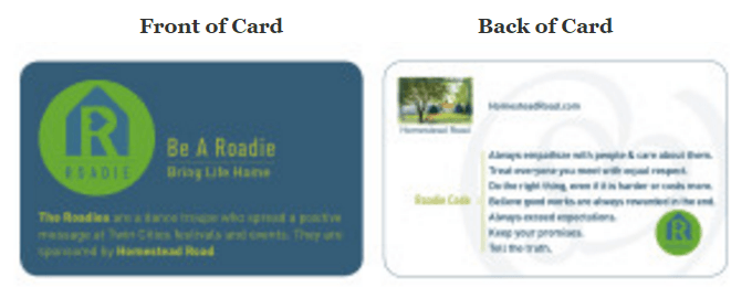 homestead road calling card front and back view