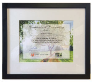 Certificate of Recognition for donations to the Homestead Road Scholarship Fund