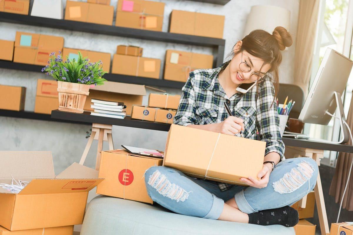 Woman packing stuff